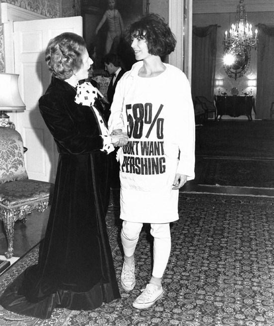 Katharine Hamnett meeting Margaret Thatcher at Downing Street, 1984