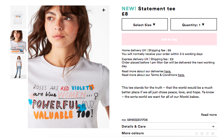 Monki's feminist-themed shirts via their website August 2017